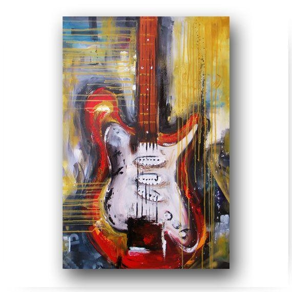 328 Best Gutair Images On Pinterest | Small Paintings, Acoustic In Guitar Canvas Wall Art (View 4 of 20)