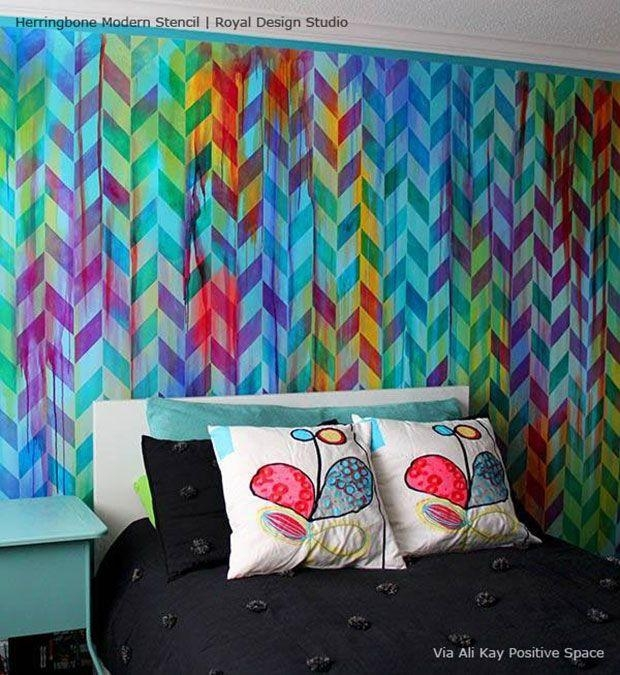 33 Best Color Crush Images On Pinterest | Design Studios, Wall Throughout Space Stencils For Walls (Image 3 of 20)