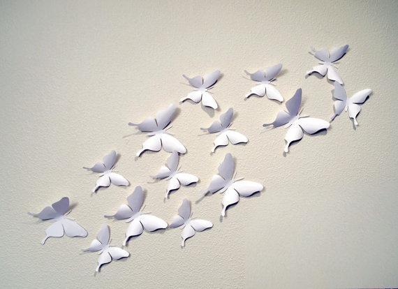 35 White 3D Butterfly Wall Art Regarding White 3D Wall Art (View 2 of 20)