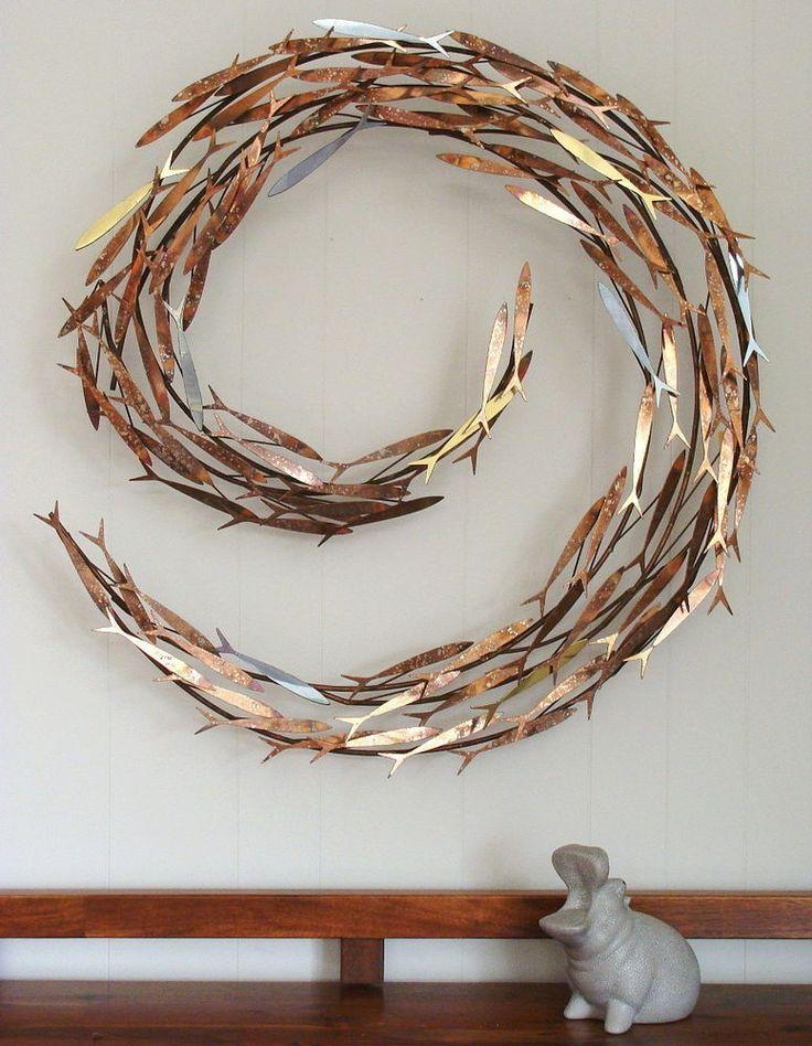 350 Best Metal Sculpture Wall Art Images On Pinterest | Metal With Regard To Shoal Of Fish Metal Wall Art (Image 2 of 20)