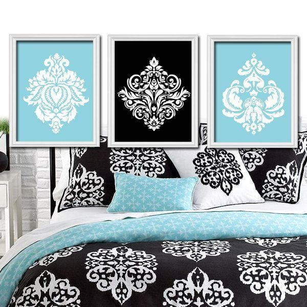 36 Best Master Bedroom Images On Pinterest | Home, Bedroom Ideas In Black And White Damask Wall Art (View 10 of 20)