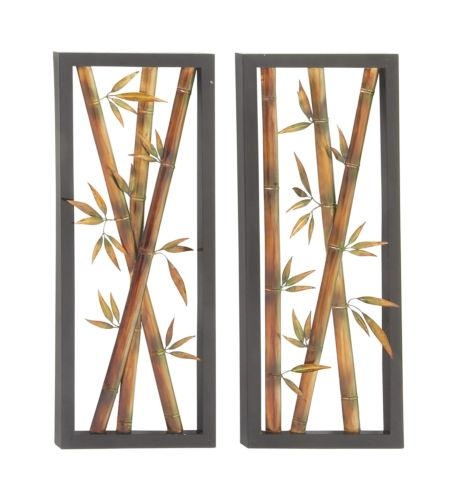 36 Brown Black Bamboo Metal Wall Art Sculpture Asian Decor Throughout Bamboo Metal Wall Art (View 10 of 20)