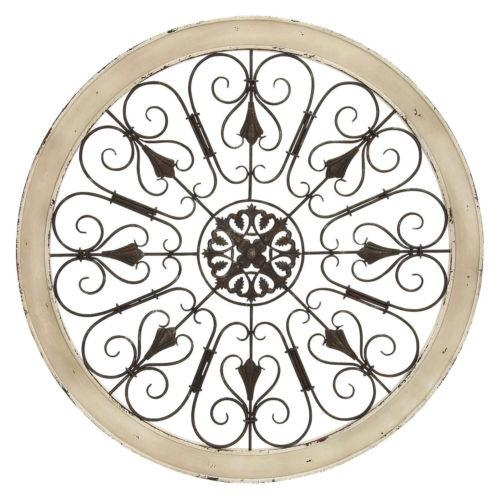 36 Shabby White Wood Metal Scroll Round Wall Art French Country For Country Metal Wall Art (View 16 of 20)