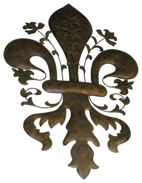 "39"" Large Fleur De Lis Metal Wall Art, Iron Sculpture France Paris Throughout Fleur De Lis Metal Wall Art (Image 2 of 20)"