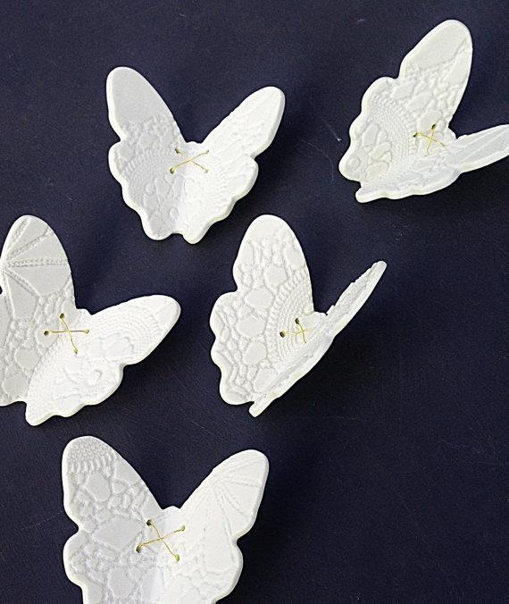 3D Butterfly Wall Art Large Wall Art Set 21 White Porcelain Within Ceramic Butterfly Wall Art (Image 8 of 20)