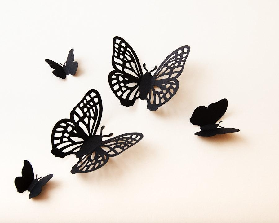 3D Butterfly Wall Art: Wall Butterflies Paper Butterflies Regarding Filigree Wall Art (Image 1 of 20)