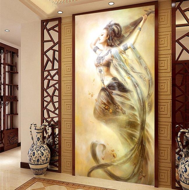 3D Chinese Wall Art Home Decor Background Canvas The Living Room Inside 3D Buddha Wall Art (Image 4 of 20)