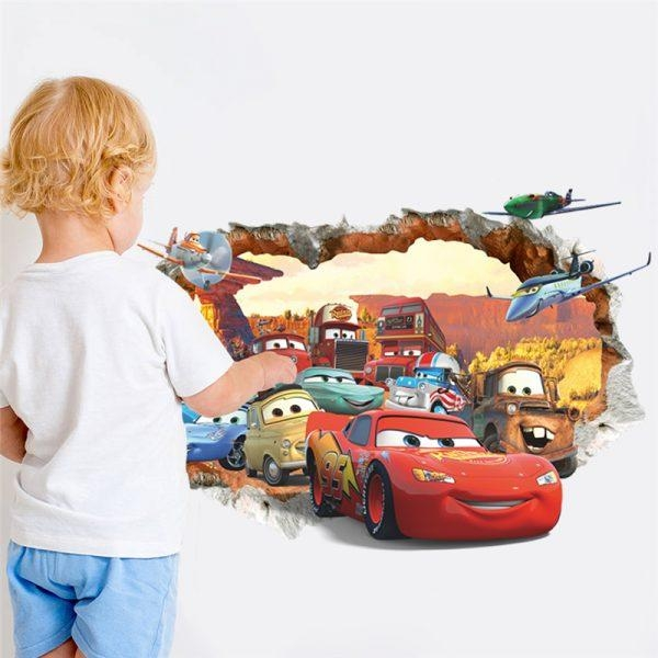 3D Lightning Mcqueen Wall Decal – Trendy Wall Art Regarding Lightning Mcqueen Wall Art (Image 2 of 20)