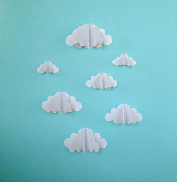 3D Paper Wall Clouds 3D Paper Wall Art/wall Decor/wall Throughout 3D Clouds Out Of Paper Wall Art (View 9 of 20)