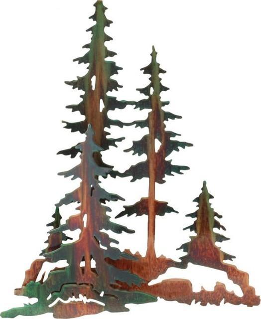 "3D Pine Trees Rustic Metal Wall Art 20"" – Rustic – Artwork – Within Pine Tree Metal Wall Art (View 6 of 20)"