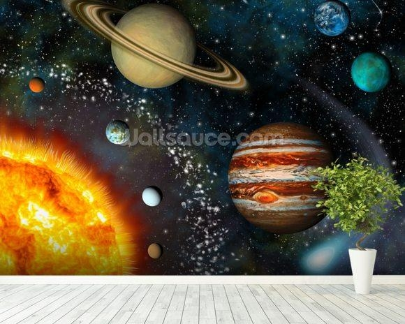 3D Solar System Wallpaper Wall Mural | Wallsauce Usa Within Solar System Wall Art (Image 5 of 20)