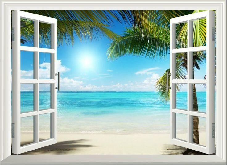 3D Sunshine Beach Window View Removable Wall Art Stickers Vinyl With Regard To Beach Wall Art (Image 2 of 20)