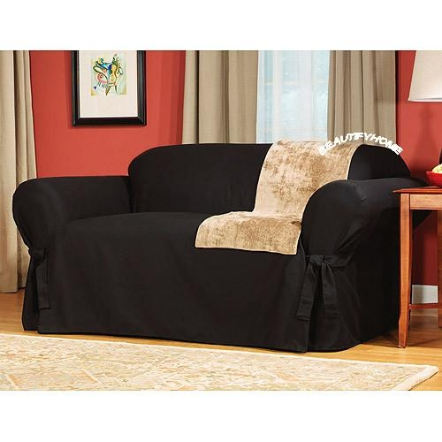 3Pc Black Corduroy Suede Sofa Couch Cover Slipcover Set Regarding Black Sofa Slipcovers (Image 2 of 20)