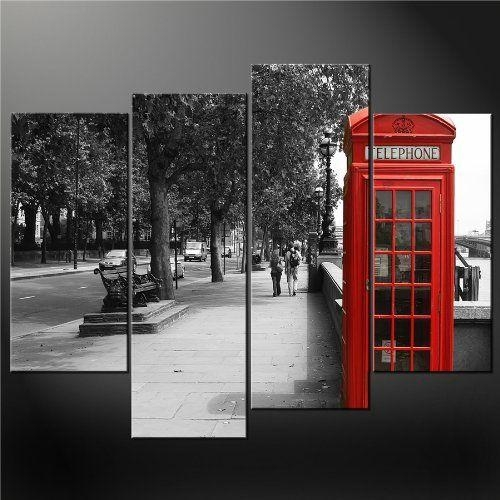 4 Panel Black White And Red Phone Booth London Wall Art Cascade Pertaining To Black And White Wall Art With Red (View 18 of 20)