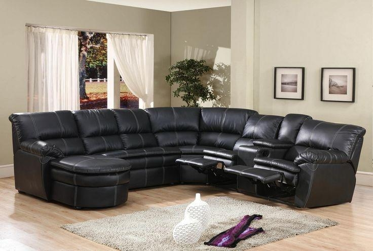 4 Pc Black Bonded Leather Sectional Sofa With Recliners And Chaise Within Black Leather Chaise Sofas (View 12 of 20)