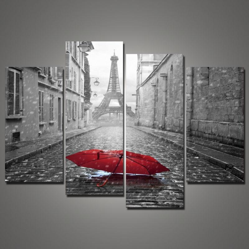 4 Piece Paris City Black And White Scenery Red Umbrella Oil Pertaining To  Black And White
