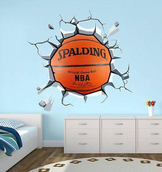 42 Best Nba Bedroom Images On Pinterest | Basketball Bedroom, Boy Intended For Nba Wall Murals (Image 1 of 20)