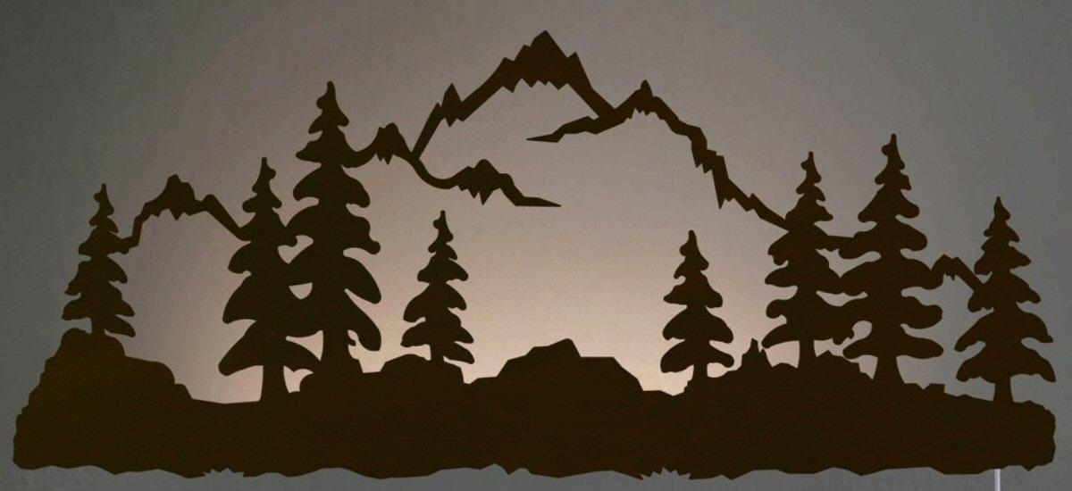 "42"" Mountain Scene Led Back Lit Lighted Metal Wall Art – Wall Decor Regarding Pine Tree Metal Wall Art (Image 3 of 20)"
