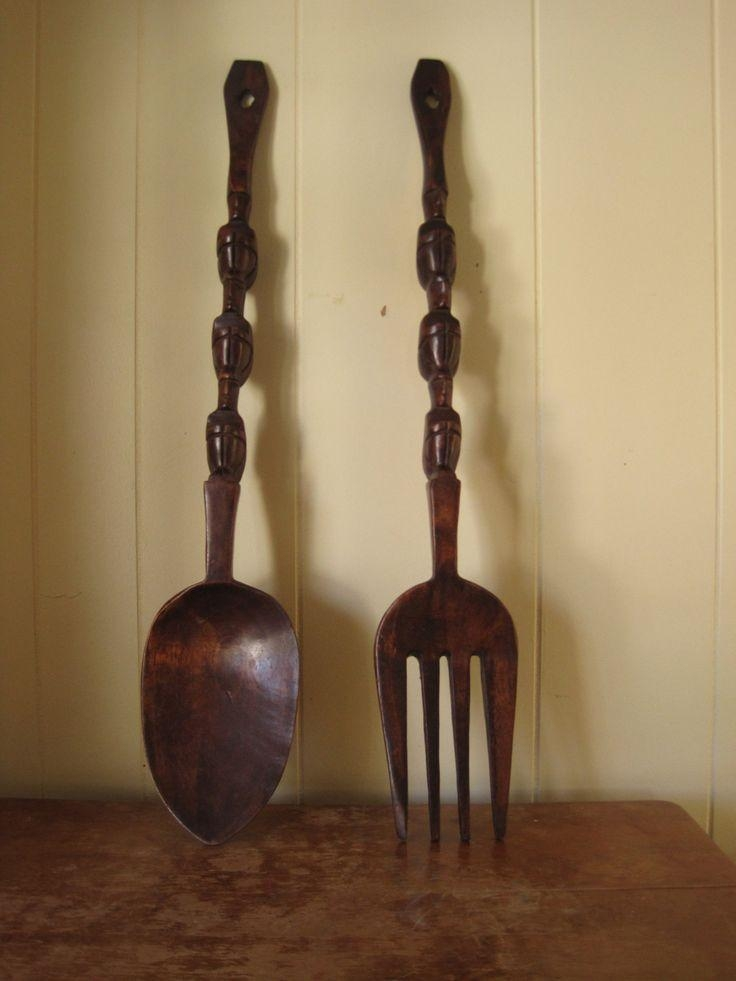 44 Best Vintage Wood Spoon & Fork Images On Pinterest | Wood Spoon In Big Spoon And Fork Decors (Image 2 of 20)