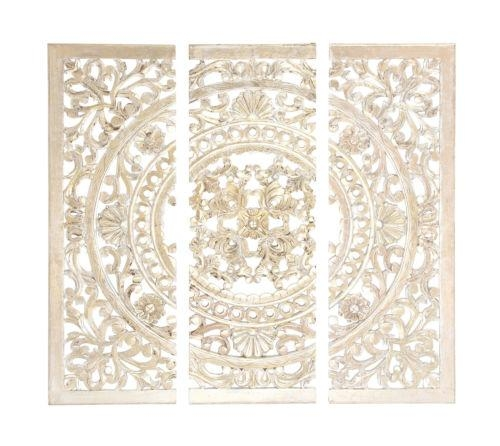 48 Distressed White Moroccan Style Wood Wall Art Panel French Inside French Country Wall Art (Image 3 of 20)