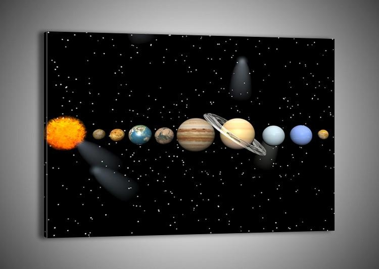 48 Shapes Premium Canvas Picture/print Wall Art Cosmos Solar Intended For Solar System Wall Art (Photo 12 of 20)
