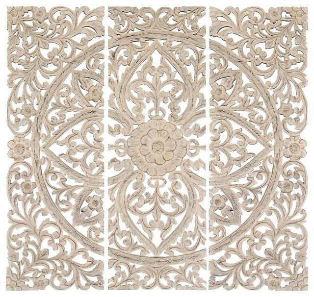 "48""x48"" Modern Carved Wood Wall Plaques, 3 Piece Set – Traditional Intended For Wood Carved Wall Art Panels (View 15 of 20)"