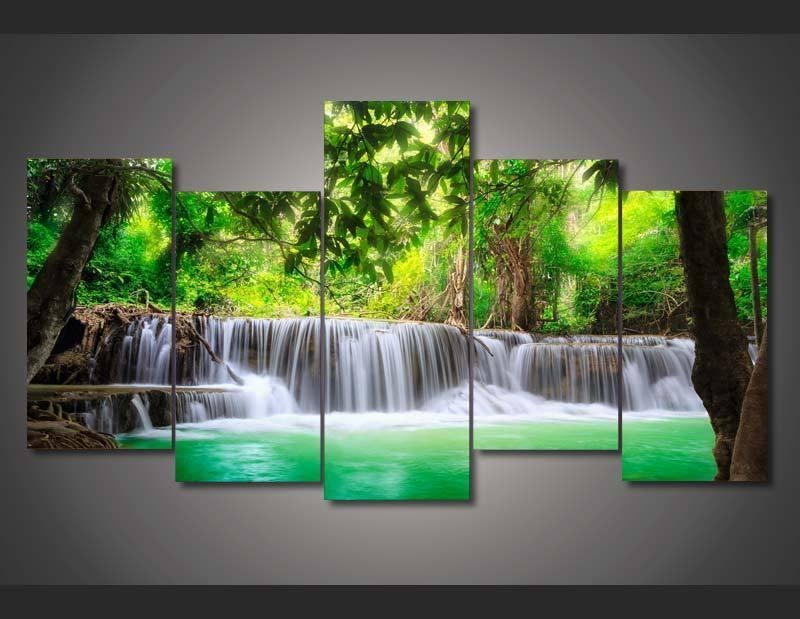 5 Panel Framed Painting Green Tropical Waterfall Painting With Waterfall Wall Art (Photo 18 of 20)