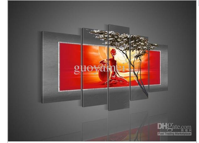 5 Panel Wall Art African Abstract Large Cheap Nude Girls Oil Throughout Cheap Abstract Wall Art (Photo 11 of 20)