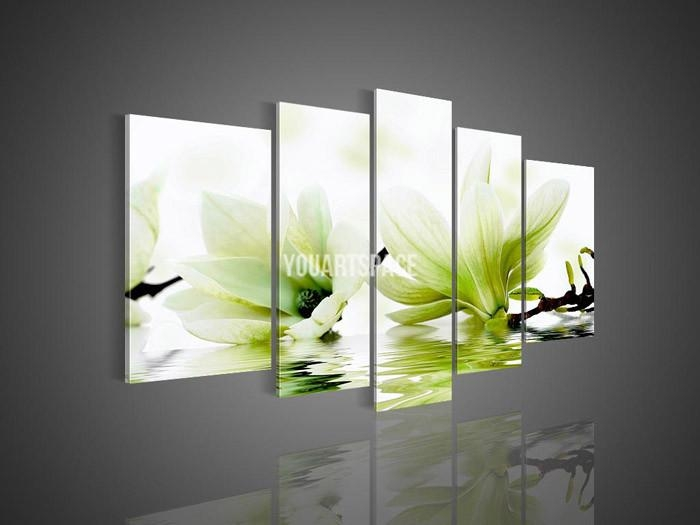 5 Panel Wall Art No Framed Modern Abstract Acrylic Flower Magnolia For Green Canvas Wall Art (Image 4 of 20)