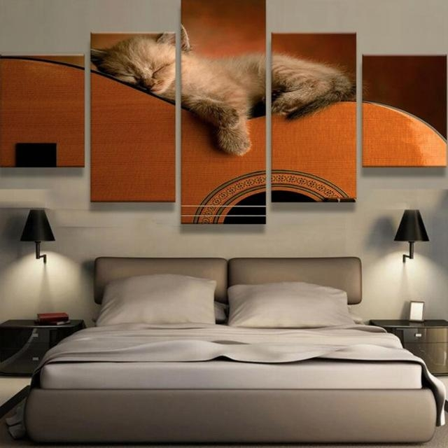 5 Panels Canvas Prints Lovely Animal Kitten On Guitar Canvas Inside Guitar Canvas Wall Art (View 19 of 20)