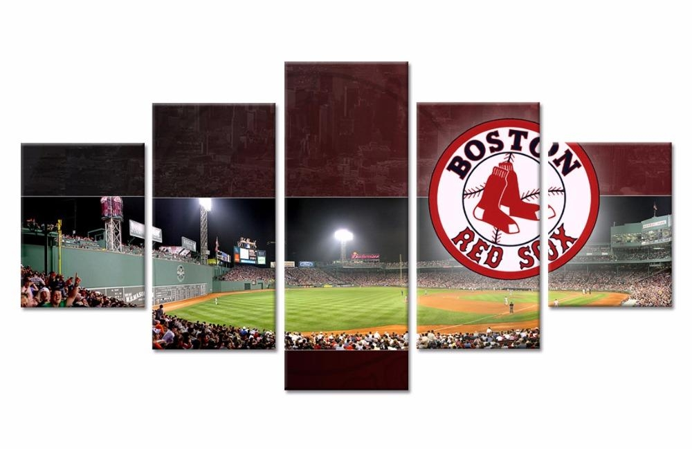 5 Piece Boston Red Sox Daseball Team Poster Cuadros Landscape Intended For Boston Red Sox Wall Art (Image 6 of 20)