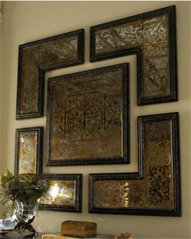 5 Piece Mirrored Wall Art Set In Brown Framed Wall Art (Image 3 of 20)