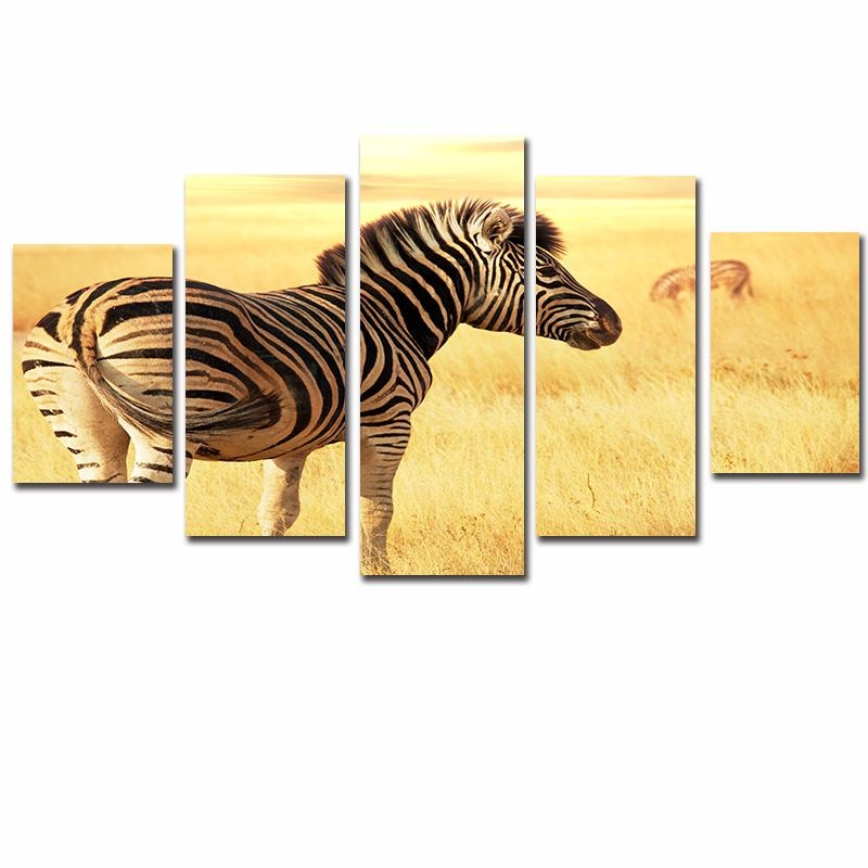 5 Piece Painting Calligraphy Wall Poster Zebra Wall Art Canvas With Regard To Zebra Wall Art Canvas (View 16 of 20)