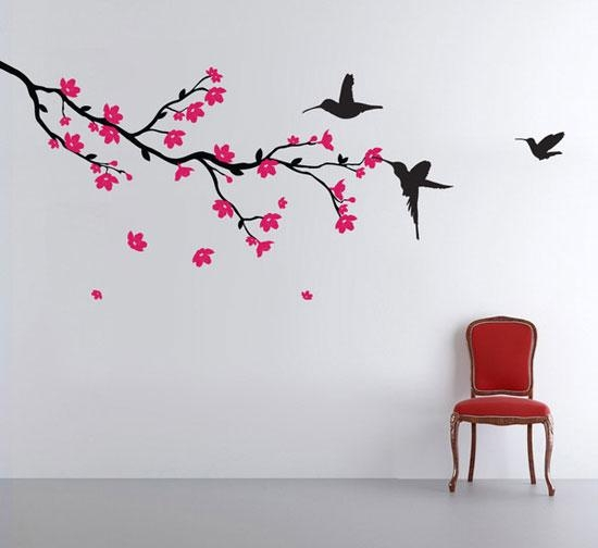 50+ Beautiful Designs Of Wall Stickers / Wall Art Decals To Decor Regarding Tree Branch Wall Art (Image 1 of 20)