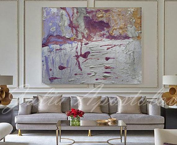 54Inch Huge Wall Art Large Abstract Print Silver Painting Within Huge Wall Art (Photo 19 of 20)