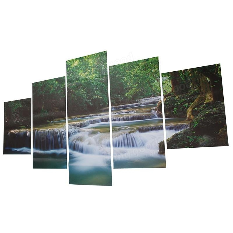 5Pcs Canvas Painting River Seascape Print Waterfall Wall Art With Waterfall Wall Art (Image 3 of 20)