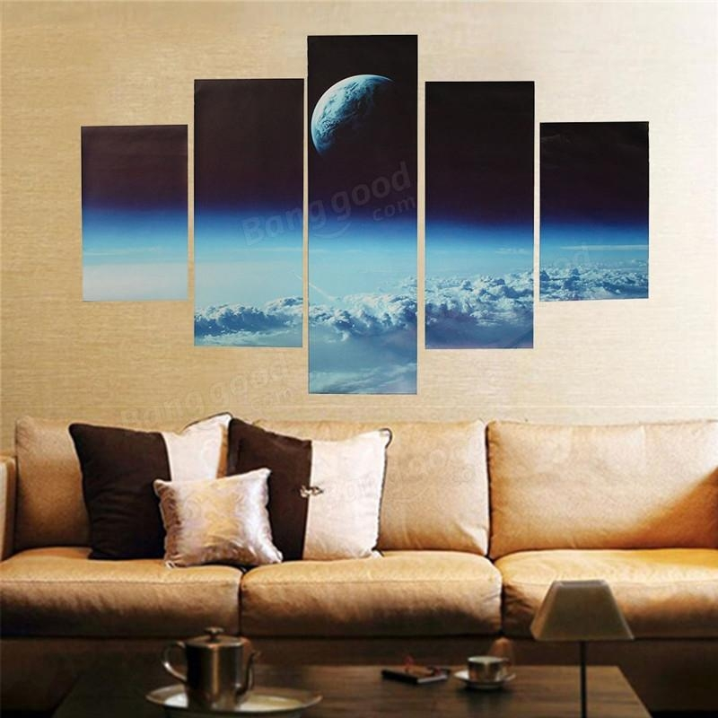 5Pcs Canvas Print Painting Cloud Veil Outer Space Modern Wall Art For Outer Space Wall Art (View 13 of 20)