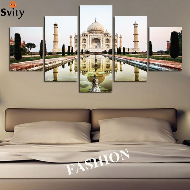 5Pcs Modern Simple India Taj Mahal Shadow Landscape Poster Canvas Pertaining To Taj Mahal Wall Art (Photo 20 of 20)