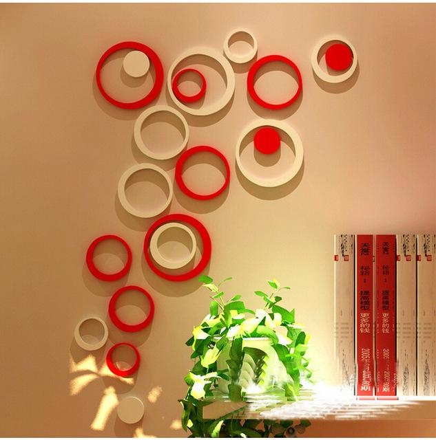 5Pcs/1 Box Acrylic 3D Circle Wall Stickers Modern Home Decor Diy With Regard To 3D Circle Wall Art (Image 4 of 20)