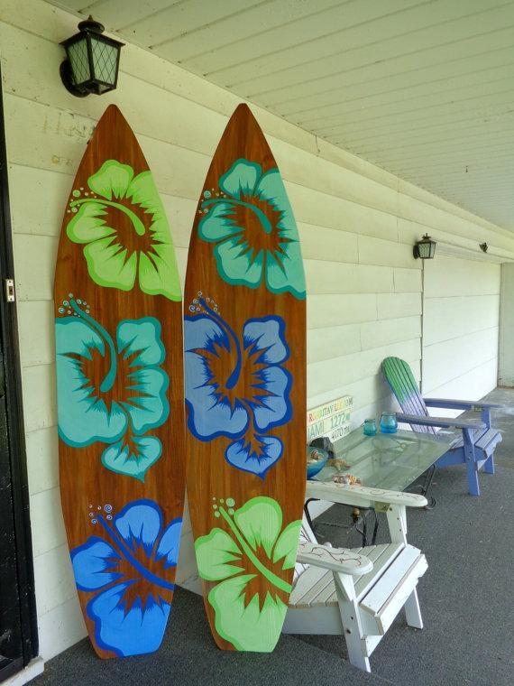 6 Foot Wood Hawaiian Surfboard Wall Art Decor Or Headboard Within Hawaiian Wall Art Decor (Image 3 of 20)