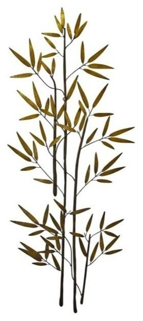 60'' Bamboo Branch Gold Metal Wall Art, Tall Asian Decor – Asian Throughout Bamboo Metal Wall Art (View 4 of 20)