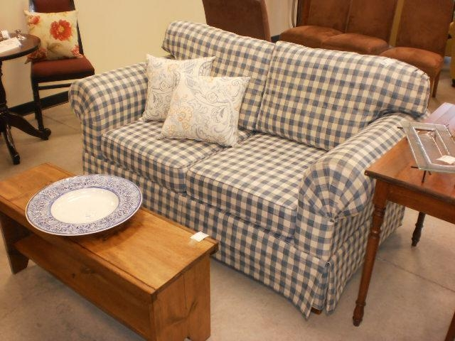 "65"" Blue & White Gingham Sofa – Sold! – Designsbyconsign With Gingham Sofas (View 2 of 20)"