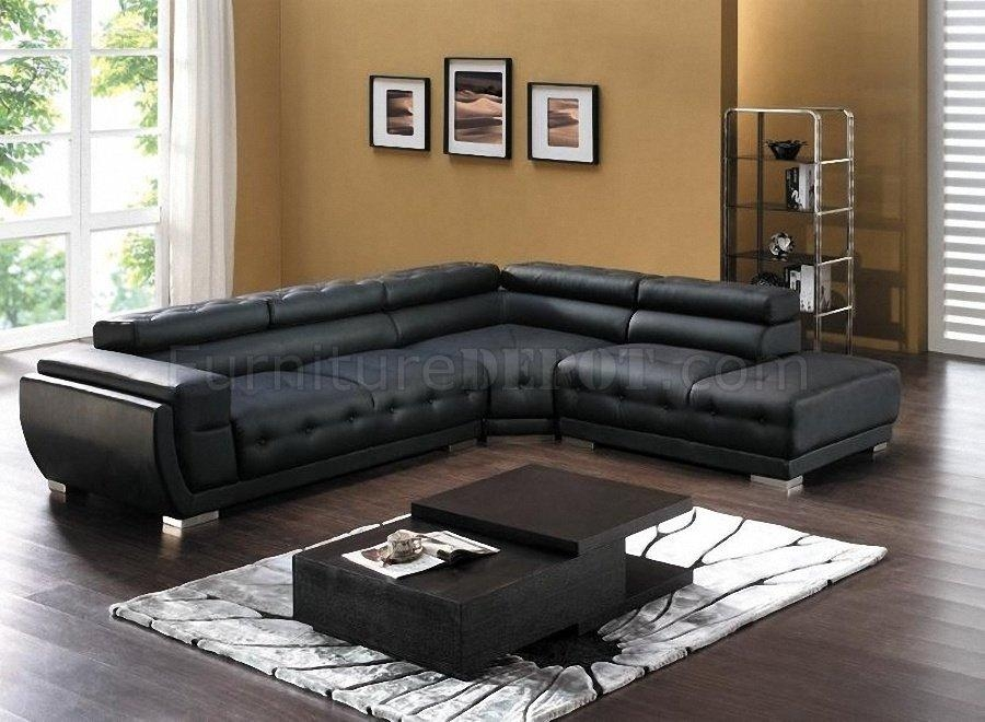 8097 Modern Leather Sectional Sofa In Blackamerican Eagle Intended For Black Modern Sectional Sofas (Image 3 of 20)