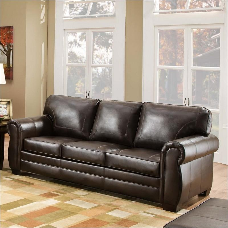 8369 D Panama Espresso Bonded Leather Queen Sleeper Sofa Intended For Simmons Leather Sofas (Image 2 of 20)