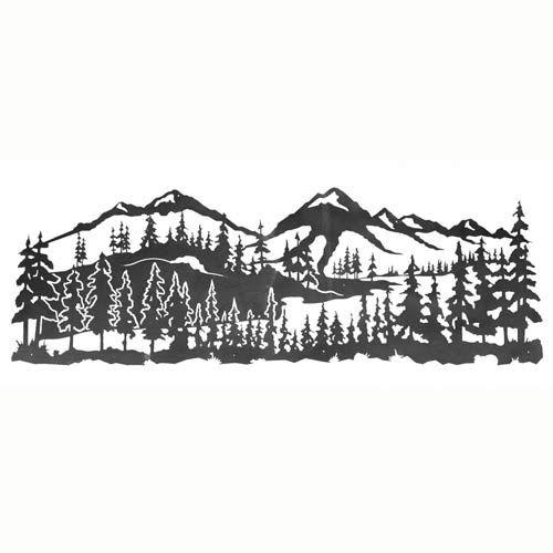 "84"" Mountain Scene With Pine Trees Metal Wall Art 