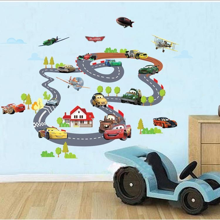90*140Cm Hot Sale Toy Story Highway Track Car Wall Stickers Home Throughout Toy Story Wall Art (View 13 of 20)
