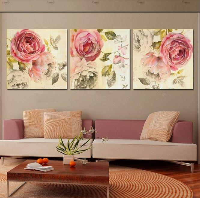 940 Best Canvas Painting 3 Piece Art Images On Pinterest Regarding 3 Piece Floral Canvas Wall Art (View 3 of 20)
