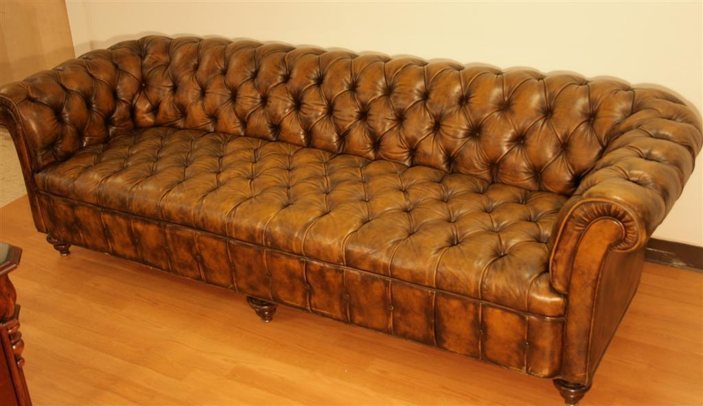 98 Inch Leather Tufted Chesterfield Sofathe Schoonbeck Co. At Throughout Brown Leather Tufted Sofas (Photo 1 of 20)