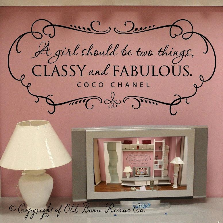 A Girl Should Be Two Things Classy And Fabulous Wall Decal In Coco Chanel Wall Decals (Image 5 of 20)