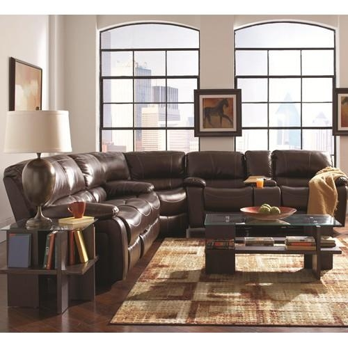 A Plus Home Furnishings – Alan Three Piece Reclining Sectional With Sofas With Cup Holders (Image 1 of 20)